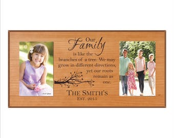 """Personalized Family Photo Frame, Great Housewarming Gift, Double Picture Frame, """"Our Family is like the branches of a tree, we may grow..."""""""