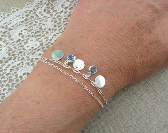 Sterling silver bracelet 925, double chain, charms, drops, blue rhinestones
