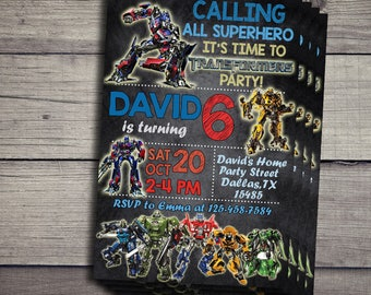 Transformers Birthday Invitation, Transformers Birthday Invite, Transformers Invitations, Transformers Birthday Invites, Transformers