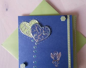"""Feelings"", two tone green and blue card"