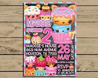 Num Noms Invitation * Num Noms Birthday Party Invite * Num Noms Birthday Party Chalkboard Invitation* Personalized * YOU PRINT