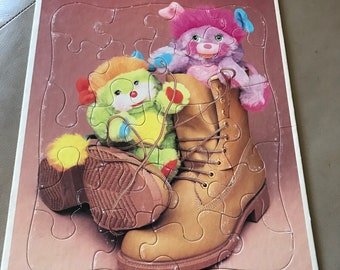 Popples Party and Popper Vtg Golden Frame Tray Puzzle