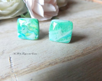 Stud earrings green and blue tones