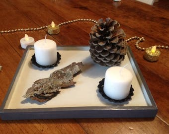 Rustic table centerpiece - nature inspiration - candleholder - decoration