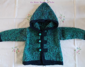12 month blue marl hooded jacket