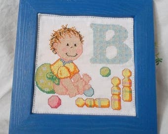 """Wood frame with embroidered """"B"""" baby alphabet"""