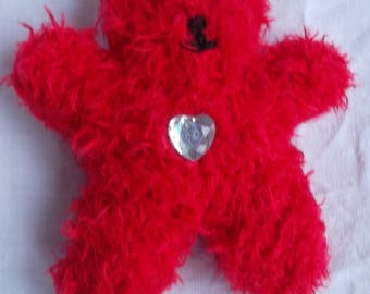 Mini Teddy bear red garnet rhinestone Center