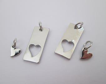 2 duo de breloques coeur en métal argenté 27 x 10 mm
