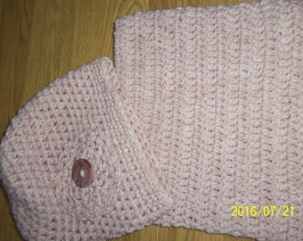 Set of hat and Snood color old pink