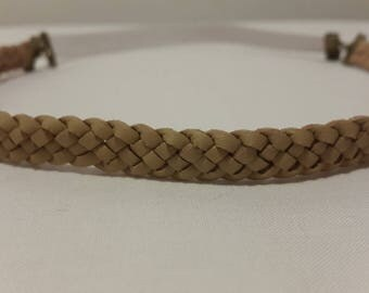 beige suede braided headband