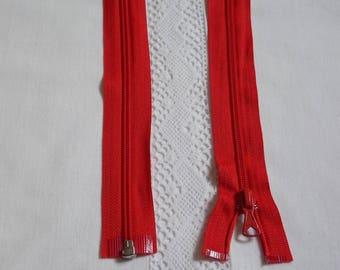Separable 70 cm red zipper