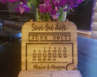 Save the date magnet, wooden, wooden calender design