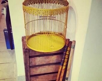 Antique French style enamel bird cage vintage