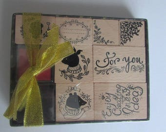 Box of wood with ink stamps