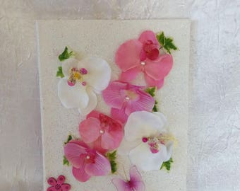 Art print floral fuchsia Orchid and white