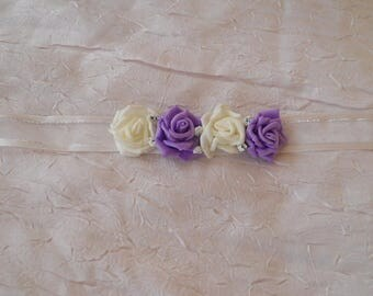 wedding purple and white flower Ribbon necklace
