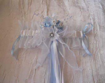 Blue and white bridal garter