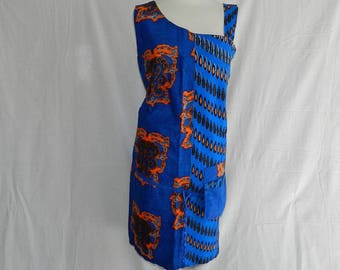 Blue African orange Pocket dress asymmetric tunic with fabric straps. T38 42