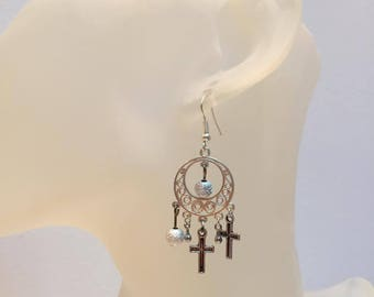 Silver Cross charm earrings