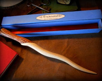 Hand carved African Samba wood wand: Traditional - blue box with