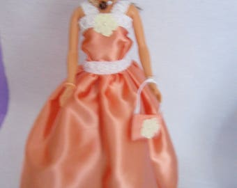 Clothes for barbie dress salmon satin (B52)