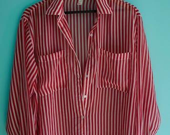 American Apparel Red White Candy Stripe Chiffon Shirt