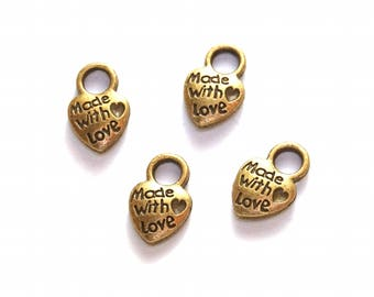 Set of 8 hearts charms
