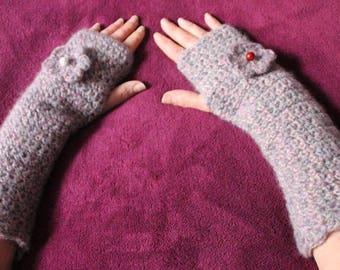 Pink fingerless gloves gray mottled wool mohair crochet
