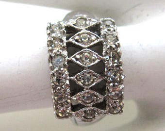 Sterling Silver Architectural Rhinestone Ring