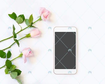 Rose Iphone, pink roses, minimal mockup. Use for social media and websites. Feminine image