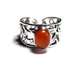 N224 - 925 sterling silver ring and stone - carnelian oval 9x7mm