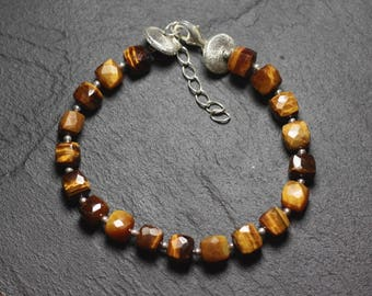 Bracelet 925 sterling silver and stone - Tiger eye Cubes faceted 5-6mm
