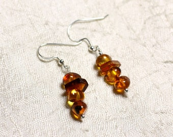925 Silver earrings and 7-10mm natural amber