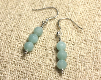 925 Silver - 6mm faceted Amazonite earrings