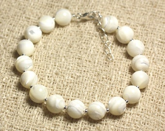 Bracelet 925 sterling silver and pearls from Pearl White iridescent 8mm