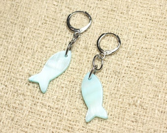 Fish 23mm blue Turquoise Pastel Pearl Earrings