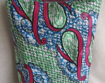 Reversible tote bag in green and pink wax