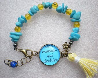 "Beads Bracelet beads bracelet gift - MOM bracelet - turquoise-bracelet-cabochon ""a MOM who rocks"" and pearls"
