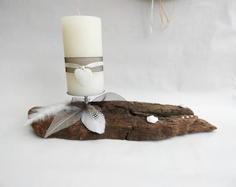 Driftwood candle holder - decorative object of charm-