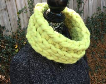 Jumbo Chartreuse Cowl. Loop Cowl. Crochet Cowl.