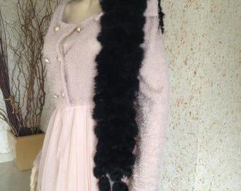beautiful black rabbit fur scarf