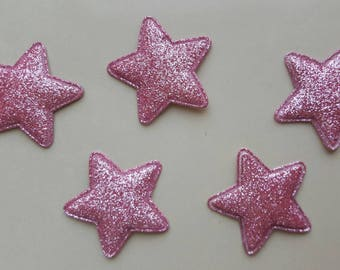 5 applique pink stars with glitter 34 mm