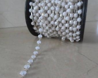 1 meter of 4 mm white rhinestone chain trim