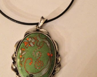 Jewelry pendant silver metal and porcelain Dimensions: 5 * 4 cm