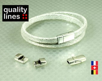 Silver magnetic clasp in zamak for flat leather 5mm 2 mm bracelet