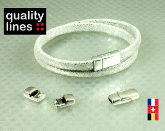 Silver magnetic clasp in zamak for flat leather 5mm 2 mm bracelet