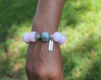 """Pink Opalite Quartz, Polymer Turquoise, Silver Accented """"Protected"""" Charm Stretch Bead Bracelet"""