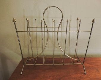 Vintage Mid- Century Brass Magazine Rack or Record Holder