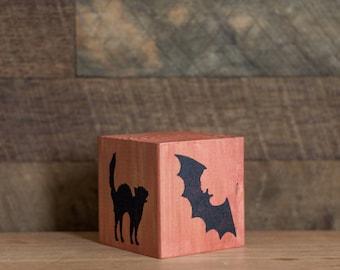 halloween wooden blockscountry rustic halloween decorations scaredy cat wooden accent block