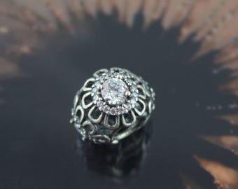 Authentic Pandora  Clear Cz Floral Brilliance Charm 791260CZ